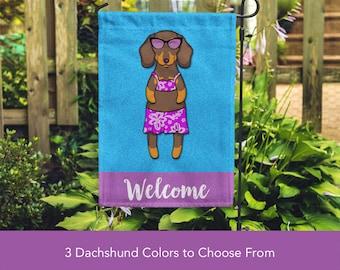 Dachshund Garden Flag (GIRL) - Unique Dachshund Gift -  Weiner Dog Gift - GIRL Sunbathing Dachshund Garden Flag
