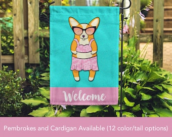Corgi Garden Flag - Unique Corgi Gift - Pembroke and Cardigan Corgis - GIRL Sunbathing Corgi Garden Flag - Tri Color/Merle/Brindle Corgis