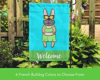 French Bulldog Garden Flag (GIRL) - Unique Frenchie Gift -  Frenchie Dog Gift - GIRL Sunbathing Frenchie Garden Flag