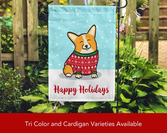 Holiday Corgi Garden Flag - Unique Corgi Gift - Pembroke and Cardigan Corgis - Holiday Corgi Garden Flag - Tri Color/Merle/Brindle Corgis
