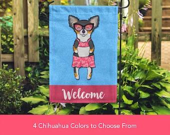 Chihuahua Garden Flag (GIRL) - Unique Chihuahua Gift -  Long Haired Chihuahua Dog Gift - GIRL Sunbathing Chihuahua Garden Flag