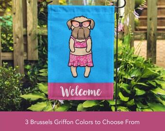 Brussels Griffon Garden Flag (GIRL) - Unique Brussels Griffon Gift -  Brussels Griffon Dog Gift - Sunbathing Brussels Griffon Garden Flag