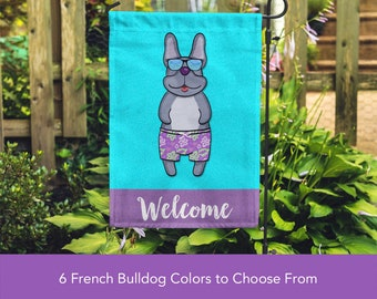 French Bulldog Garden Flag (BOY) - Unique Frenchie Gift -  Frenchie Dog Gift - BOY Sunbathing Frenchie Garden Flag