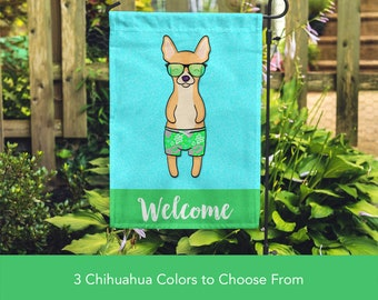 Chihuahua Garden Flag (BOY) - Unique Chihuahua Gift -  Apple Head Chihuahua Dog Gift - BOY Sunbathing Chihuahua Garden Flag