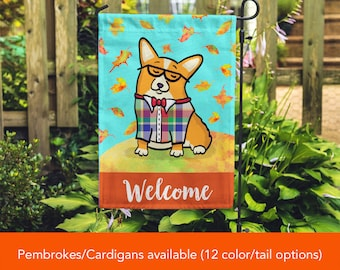 Corgi Garden Flag - Unique Corgi Gift - Pembroke and Cardigan Corgis -  Autumn Fall Corgi Garden Flag - Tri Color/Merle Corgis