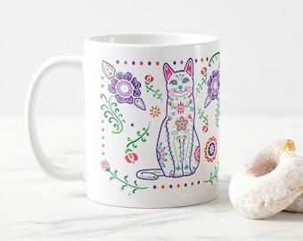 Sugar Skull Color Cat Mug - Cat Coffee Mug - Dia de los muertos - Dia de los Gatos - Pet Lover Gift- Cat Mug