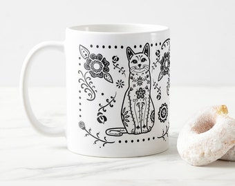 Sugar Skull Black & White Cat Mug - Cat Coffee Mug - Dia de los muertos - Dia de los Gatos - Pet Lover Gift- Cat Mug