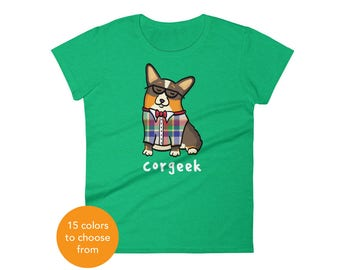 Women's Corgi Shirt - Corgeek Corgi Tee Shirt - Black Headed Tri Pembroke - Women's short sleeve t-shirt