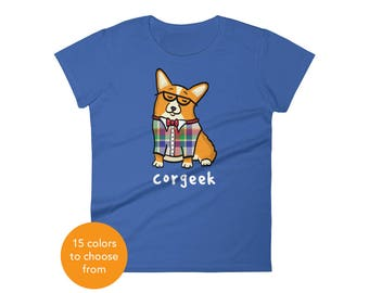 Women's Corgi Shirt - Corgeek Corgi Tee Shirt - Red/White Pembroke - Women's short sleeve t-shirt