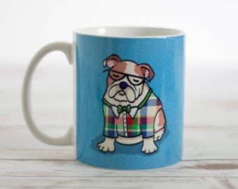 English Bulldog Mug - Pet Lover Gift - Choose Background Color
