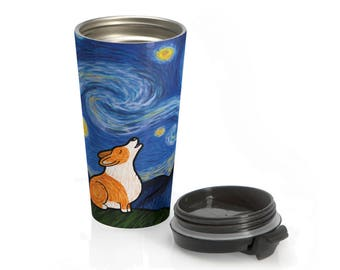 Corgi Stainless Steel Travel Mug - Starry Baroo - Pembroke or Cardigan