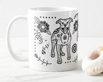 Pit Bull Mug - Sugar Skull Pitbull mug - Dog Lover Gift - Pit Bull gift