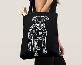 Pit Bull Tote Bag - White Sugar Skull Pitbull tote bag - Dog Lover Gift - Pit Bull gift