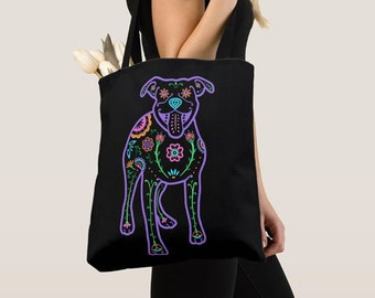 Pit Bull Tote Bag - Color Sugar Skull Pitbull tote bag - Dog Lover Gift - Pit Bull gift