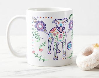 Pit Bull Mug - Color Sugar Skull Pitbull mug - Dog Lover Gift - Pit Bull gift