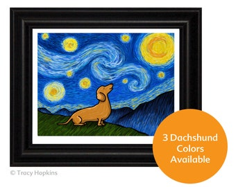 "Dachshund  ""Starry Baroo"" Art Print (UNframed) - 3 Dachshund colors to choose from - Wiener Dog - Doxie"