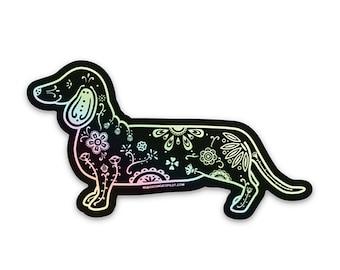 "Holographic Dachshund Sticker - 3"" dachshund sticker, laptop, mug sticker, dachshund decal - sugar skull lover gift idea - FREE SHIPPING"