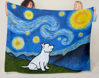 "Westie Starry Night Blanket - Starry Baroo 50"" x 60"" or 60"" x 80"""