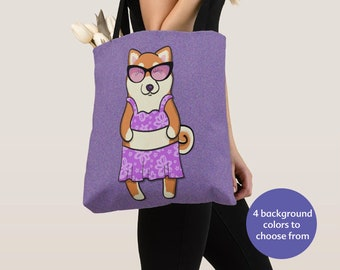 GIRL Shiba Inu Tote Bag - Shiba Inu Lover Gift - Choose Background Color