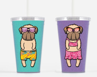 Brussels Griffon Beverage Tumbler BEIGE - Brussels Griffon Gift - Choose from boy or girl - choose from four background colors
