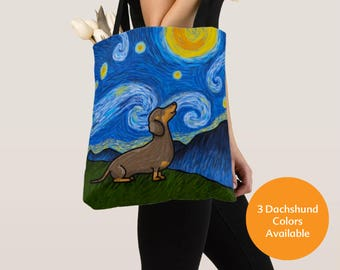 Dachshund Tote Bag (Black/Tan, Chocolate, or Red Dachshunds Available) - Dachshunds - Starry Baroo - Pet Lover Gift