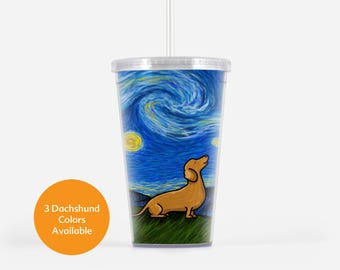 Dachshund Beverage Tumbler - Starry Baroo- Different Color Dachshunds to choose from - Starry Night