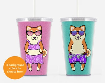 Shiba Inu Beverage Tumbler - Shiba Inu Gift - Choose from boy or girl - choose from four background colors