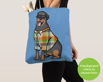 Rottweiler Tote Bag - Rottweiler Lover Gift - Choose Background Color