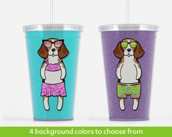 Beagle Beverage Tumbler - Beagle Gift - Choose from boy or girl - choose from four background colors