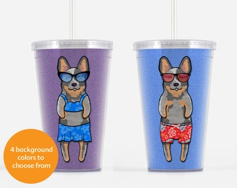 Australian Cattle Dog Beverage Tumbler - Blue Heeler Gift - Choose from boy or girl - choose from four background colors