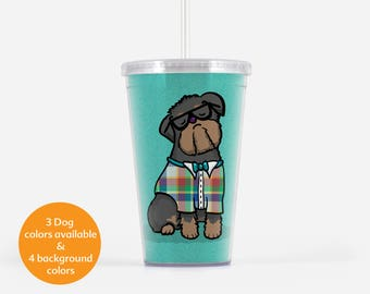 Brussels Griffon Beverage Tumbler  - Brussels Griffon Gift - Choose from three griffon colors - choose from four background colors