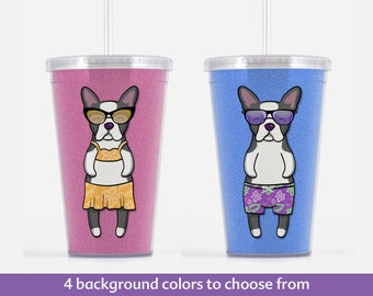 Boston Terrier Beverage Tumbler - Boston Terrier Gift - Choose from boy or girl - choose from four background colors