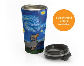 Dachshund Stainless Steel Travel Mug - Starry Baroo - 3 Colors to choose from