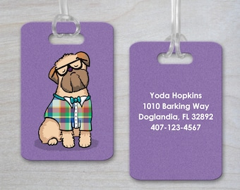 Personalized Luggage Tag - Brussels Griffon - Brussels Griffon Gift - CHOOSE BACKGROUND COLOR - Beige or Black Brussels Griffon Available