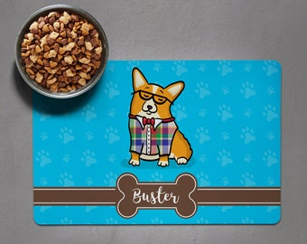 Personalized Corgi Placemat - Dog Bowl Pet Mat - Pembroke and Cardigan Corgi Varieties Available - choose corgi/colors/shape/font