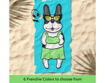 "French Bulldog Beach Towel - Girl Frenchie Beach Towel - 30"" x 60"" or 36"" x 72"" - Different French Bulldog Colors Available"