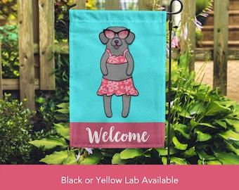 Black or Yellow Lab Garden Flag (GIRL) - Unique Labrador Gift -  Labrador Retriever Dog Gift - GIRL Sunbathing Lab Garden Flag