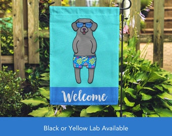 Black or Yellow Lab Garden Flag (BOY) - Unique Labrador Gift -  Labrador Retriever Dog Gift - BOY Sunbathing Lab Garden Flag