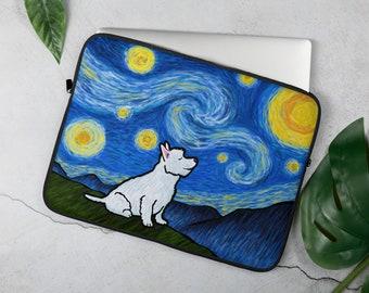 "Westie Laptop Sleeve - Corgi  ""Starry Night"" Laptop Sleeve - West Highland Terrier - 13"" or 15"""