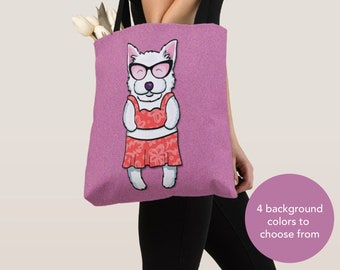 GIRL Sunbathing Westie Tote Bag - Westie - Westie Lover Gifts - 4 BACKGROUND COLORS