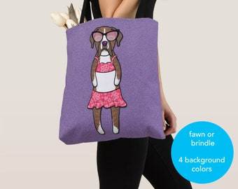 GIRL Sunbathing Boxer Tote Bag (Brindle or Fawn Boxer Available) -Boxers- Boxer Lover Gift -4 BACKGROUND COLORS