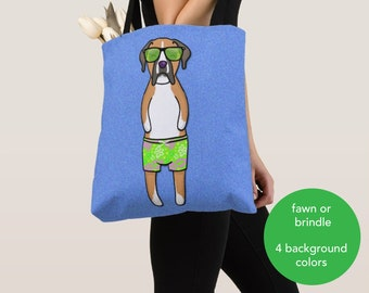 BOY Sunbathing Boxer Tote Bag (Brindle or Fawn Boxer Available) -Boxers- Boxer Lover Gift -4 BACKGROUND COLORS