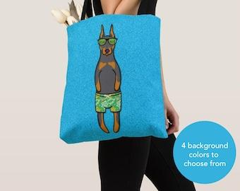 BOY Sunbathing Doberman Tote Bag - Doberman Pincher - Doberman Lover Gifts - 4 BACKGROUND COLORS