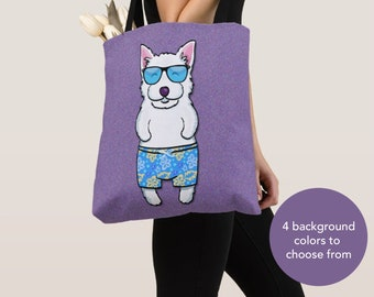 BOY Sunbathing Westie Tote Bag - Westie - Westie Lover Gifts - 4 BACKGROUND COLORS