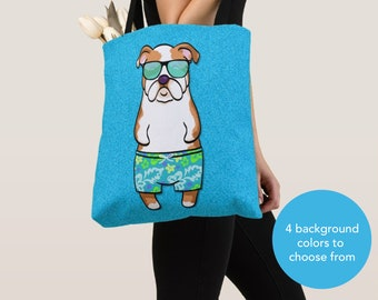 BOY Sunbathing Bulldog Tote Bag - English Bulldog - Bulldog Lover Gifts - 4 BACKGROUND COLORS