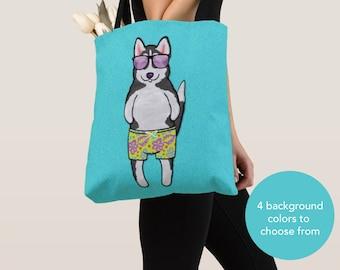 BOY Sunbathing Husky Tote Bag - Husky - Husky Lover Gifts - 4 BACKGROUND COLORS
