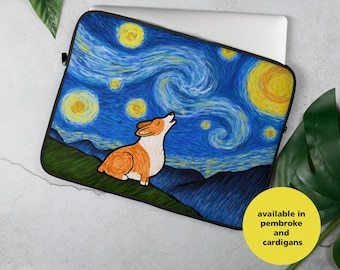 "Corgi Laptop Sleeve - Corgi  ""Starry Baroo"" Laptop Sleeve - Pembroke Welsh Corgi - Cardigan Welsh Corgi - 13"" or 15"""