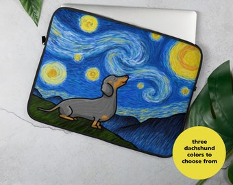"Dachshund Laptop Sleeve - Dachshund  ""Starry Night"" Laptop Sleeve - Doxie laptop case"