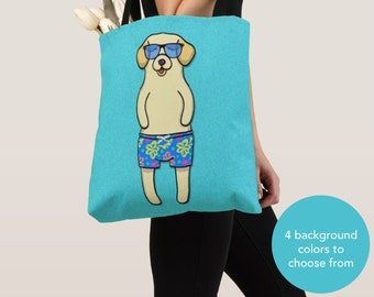 BOY Sunbathing Yellow Lab Tote Bag -Yellow Labrador- Yellow Labrador Lover Gift -4 BACKGROUND COLORS