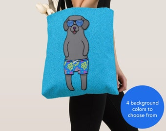 BOY Sunbathing Black Lab Tote Bag -Black Labrador- Black Labrador Lover Gift -4 BACKGROUND COLORS
